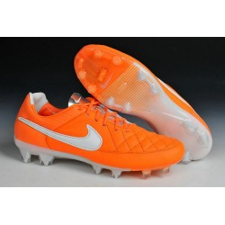 New Leather Ronaldinho Nike Tiempo Legend 5 FG Soccer Cleats Orange White