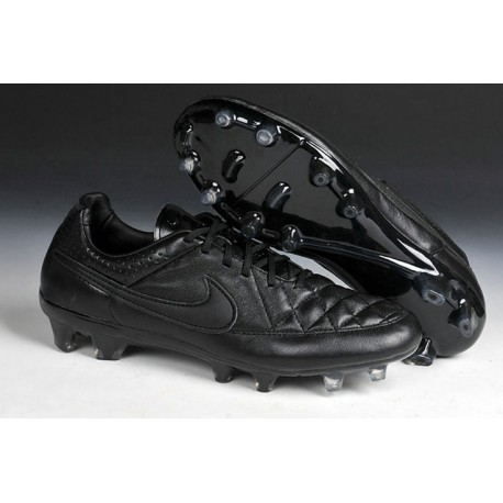 New Leather Ronaldinho Nike Tiempo Legend 5 FG Soccer Shoes All Black
