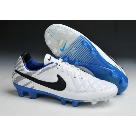 New Leather Nike Tiempo Legend V ACC FG Reflective White Blue Black Cleats