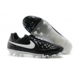 New Leather Ronaldinho Nike Tiempo Legend 5 FG Boots Black White