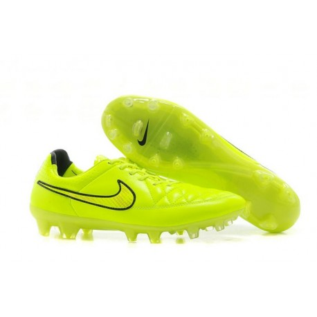 New Leather Nike Tiempo Legend 5 FG Soccer Boots Volt Gold Black