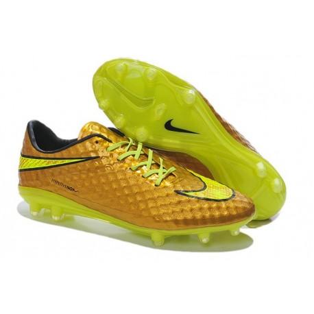 Neymar Personal 2014 New Nike HyperVenom Phantom FG Special Gold Volt Black