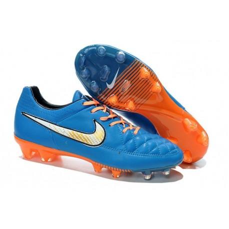 Nike Tiempo Legend V FG Firm Ground Football Boots Blue Orange White