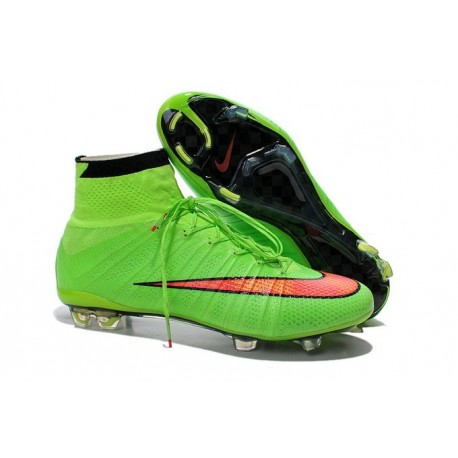 Nike Football Cleats Cheap 2014 Mercurial Superfly IV FG Green Hyper Punch