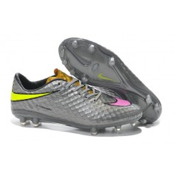 Nike HyperVenom Phantom FG Premium ACC Neymar Cleats Grey Pink Yellow