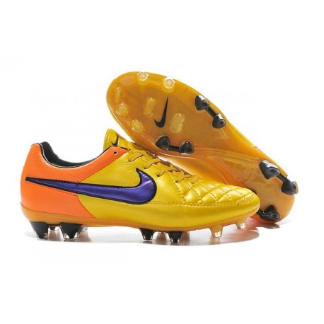 New 2015 Nike Tiempo Legend V FG ACC K-leather Cleats Laser Orange Violet