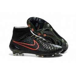 Top 2015 Men's Football Boots Nike Magista Obra FG With ACC Black Rough Green Hyper Crimson