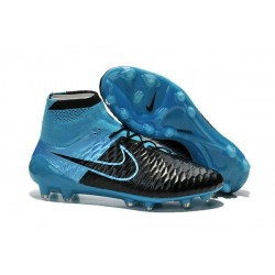 Top 2015 New Leather Black Blue Football Boots Nike Magista Obra FG With ACC