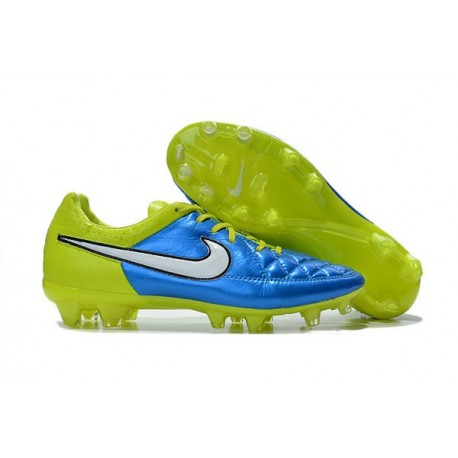 New 2015 Nike Tiempo Legend V FG ACC K-leather Cleats Blue White Volt