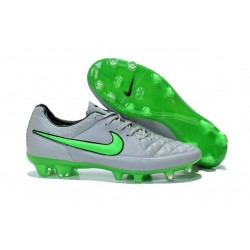 New 2015 Nike Tiempo Legend V FG ACC K-leather Cleats Wolf Grey Green Strike