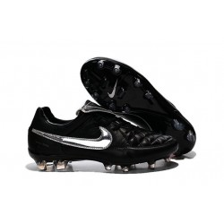 New 2015 Nike Tiempo Legend V FG ACC K-leather Cleats Black Silver