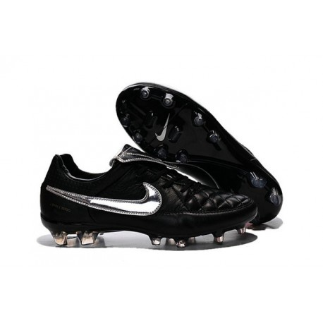 New 2015 Nike Tiempo Legend V FG ACC K-leather Cleats Black Silver