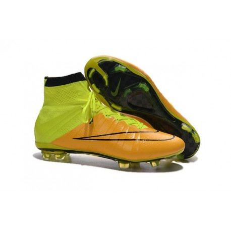 Nike Mercurial Superfly 4 FG Top Football Shoes Yellow Volt Black