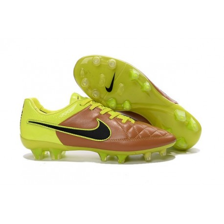 New 2015 Nike Tiempo Legend V FG ACC K-leather Cleats Canvas Volt Black