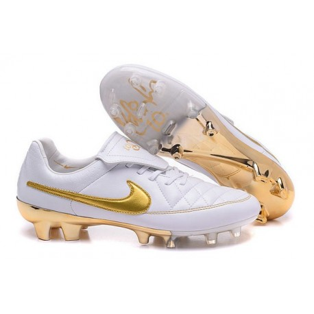 New Nike Tiempo Legend R10 FG ACC K-leather Cleats White Golden