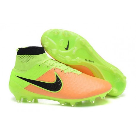 Nike New Magista Obra FG ACC Firm Ground Shoes Leather Yellow Volt Black