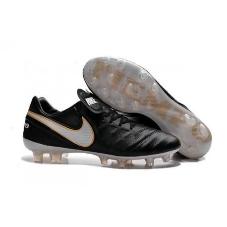 Nike K-leather 2016 Tiempo Legend VI FG Football Boots Black White Golden
