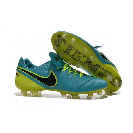 Nike K-leather 2016 Tiempo Legend VI FG Football Boots Blue Volt Black