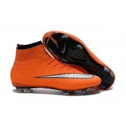 New Nike Mercurial Superfly Iv FG Cristiano Ronaldo Cleats Orange Silver