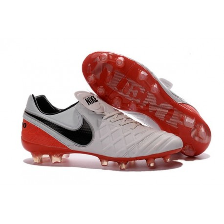 Nike K-leather 2016 Tiempo Legend VI FG Football Boots White Red Black