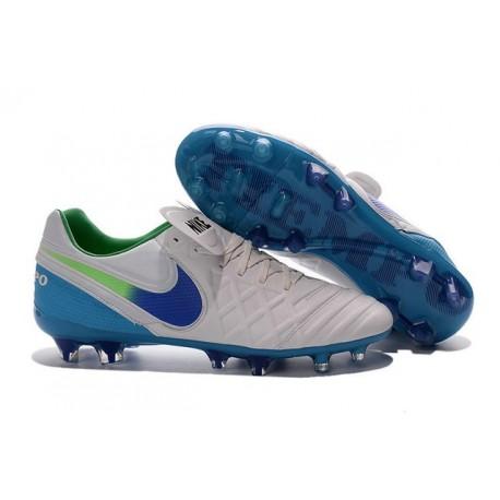 Nike K-leather 2016 Tiempo Legend VI FG Football Boots White Blue Green