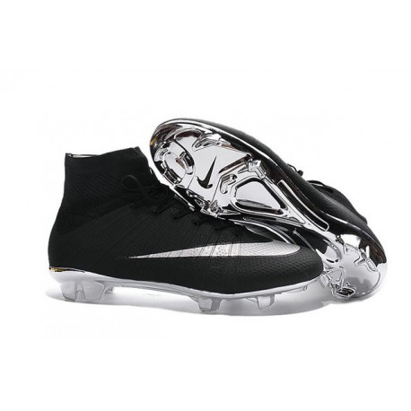 Nike 2016 Top Mercurial Superfly FG Soccer Boots Black Silver