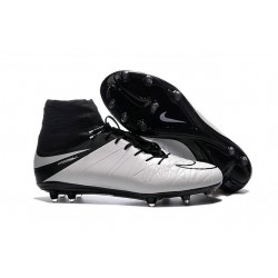 Nike 2016 Hypervenom Phantom II FG Men Soccer Boots Leather White Black