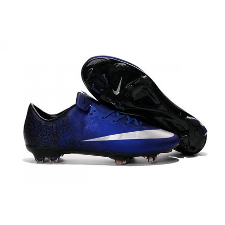 New 2016 Nike Mercurial Vapor 10 FG Soccer Boots Royal Blue Silver