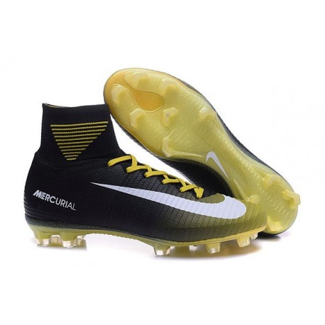 Nike Mens Mercurial Superfly 5 ACC FG Football Boots Black Yellow White
