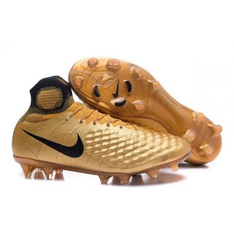 Nike Magista Obra II FG Mens Football Cleats Gold Black