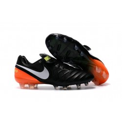 Nike Tiempo Legend VI FG Leather Football Boots Black White Orange