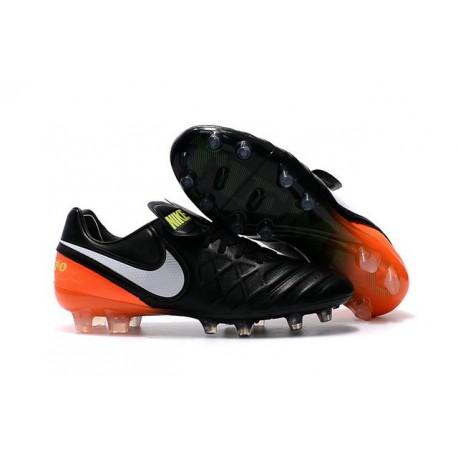 Nike Tiempo Legend VI FG Leather Football Boots Black White Orange