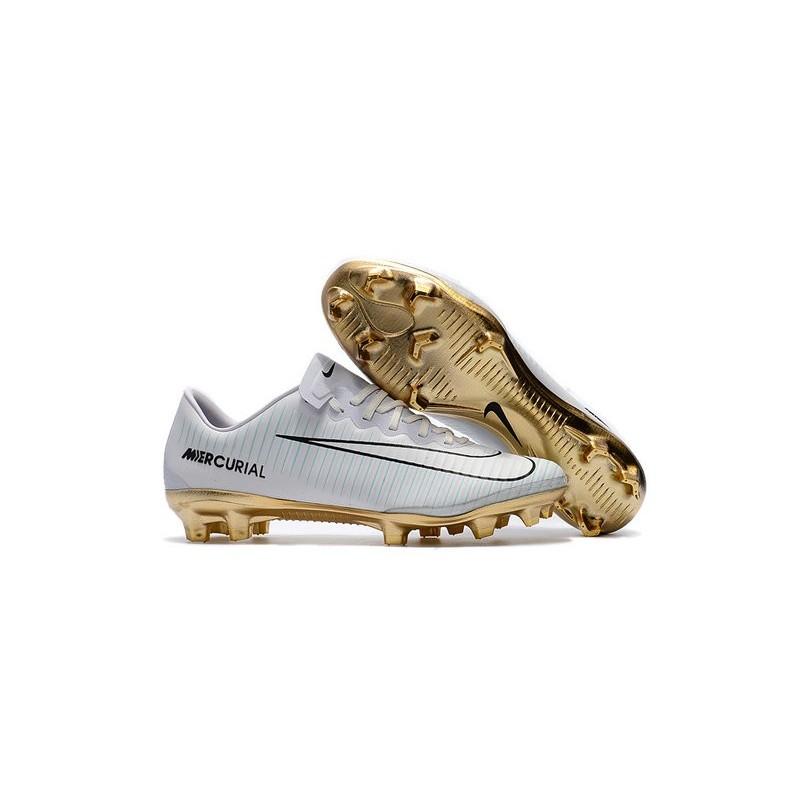 nike mercurial vapor vit rias cr7 11 fg 2017 soccer shoes white gold. Black Bedroom Furniture Sets. Home Design Ideas