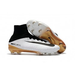Nike Mercurial Superfly 5 FG Football Shoes White Golden Black