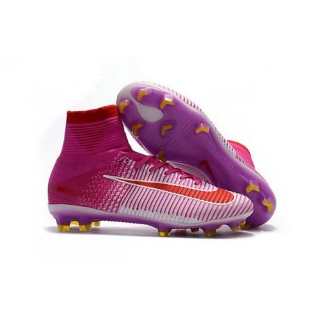New 2017 Nike Mercurial Superfly V FG ACC Soccer Boots Pink Red White
