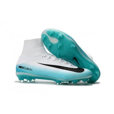 New 2017 Nike Mercurial Superfly V FG ACC Soccer Boots White Blue Black