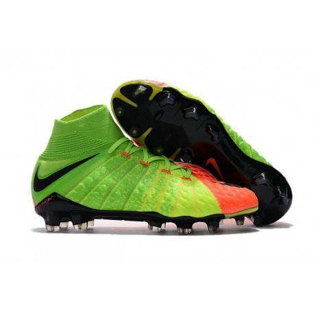 Nike Hypervenom Phantom III DF FG Firm Ground Boots Electric Green Orange Black