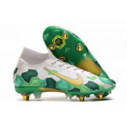 Nike Mercurial Superfly 7 Elite SG-PRO Anti-Clog Mbappe White Gold Green