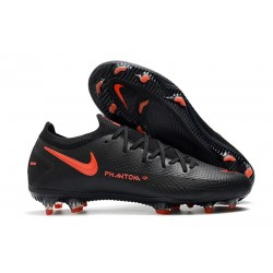 Nike Phantom GT Elite FG Soccer Cleat Black Dark Smoke Grey Chile Red