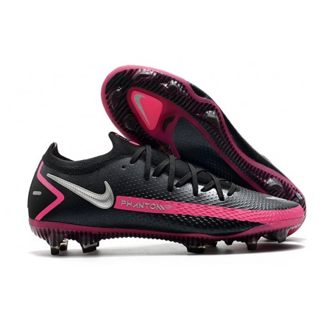 Nike Phantom GT Elite FG Soccer Cleat Black Pink Blast Metallic Silver