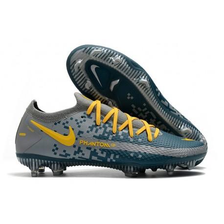 Nike Phantom GT Elite FG Firm Ground Shoes Gray Blue Yellow