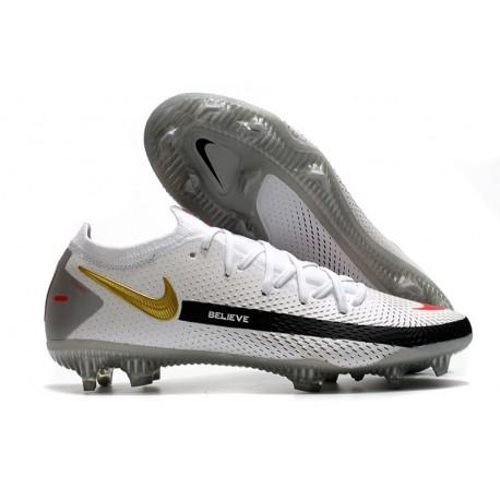 Nike Phantom GT Elite FG Firm Ground Shoes White Black Gold Red