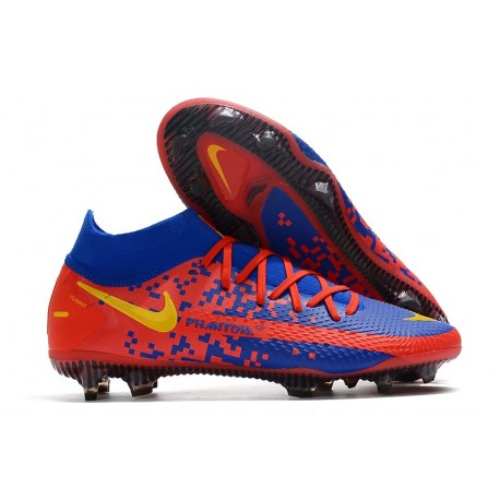 Nike Phantom GT Elite DF FG Soccer Shoes Blue Red Yellow