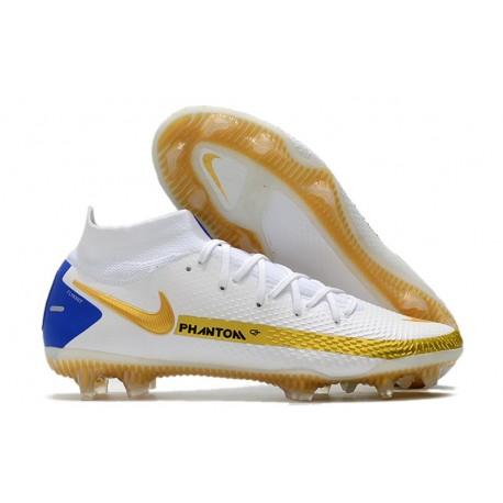 New Nike Phantom GT Elite DF FG White Gold Blue